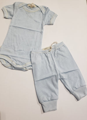 Baby Blue S/S Footless 2PC Set