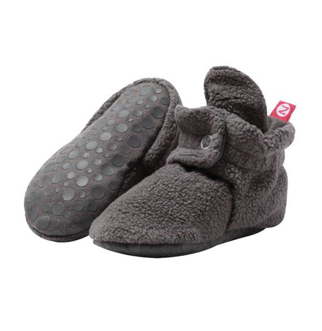 Cozie Fleece Gripper Booties, Gray