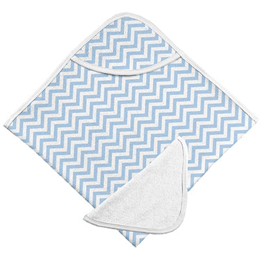 Bath Towel & Washcloth, Blue Chevron