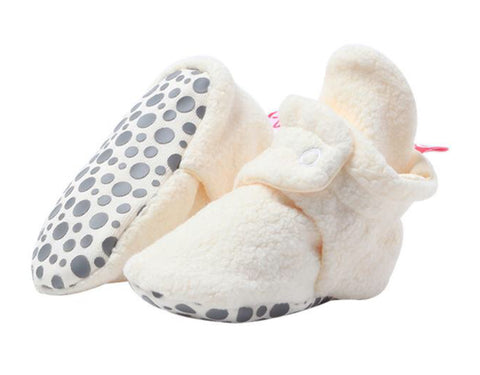 Cozie Fleece Gripper Booties, Cream