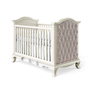 Classic Crib Tufted Panel Bianco Satinato with Beige Velvet