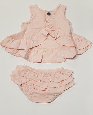 Dolly Knit Ruffle Pink (Rose) 2PC