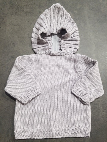 Hooded Knit Sweater, Grey