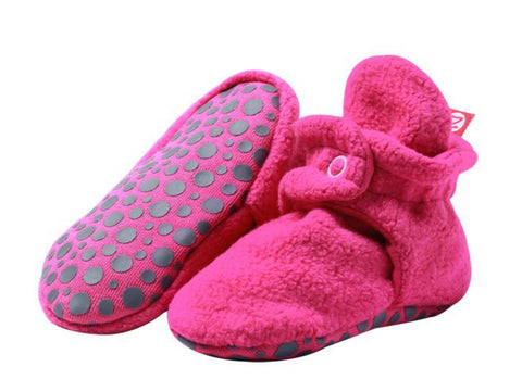 Cozie Fleece Gripper Booties, Fuchsia
