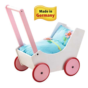 Wooden Doll Pram with Flowers