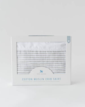 Muslin Crib Skirt, Grey Stripe