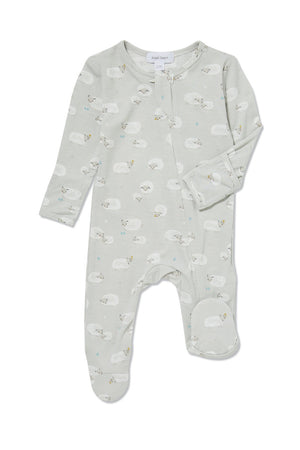 Sheep Footie W/Zip, Grey