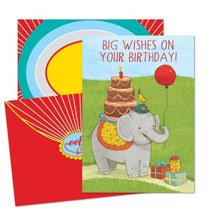 Elephant W/ Balloon Bday Card
