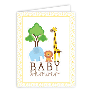 Card - Baby Shower Zoo Animals, Blue