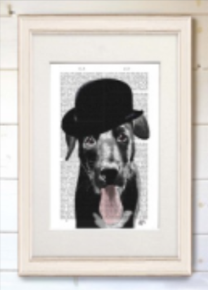 Real Book Page - Black Lab Bowler Hat