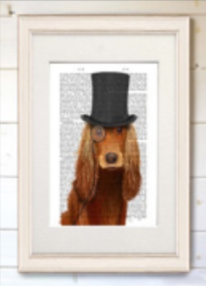 Real Book Page, Cocker Spaniel, Formal Hat