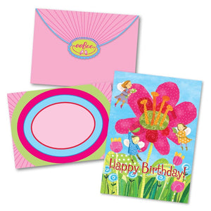 Fairies W/ Giant Pink Flowers Bday Card