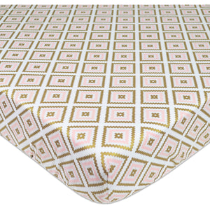 Percale Crib Sheet - Gold/Pink Sparkle