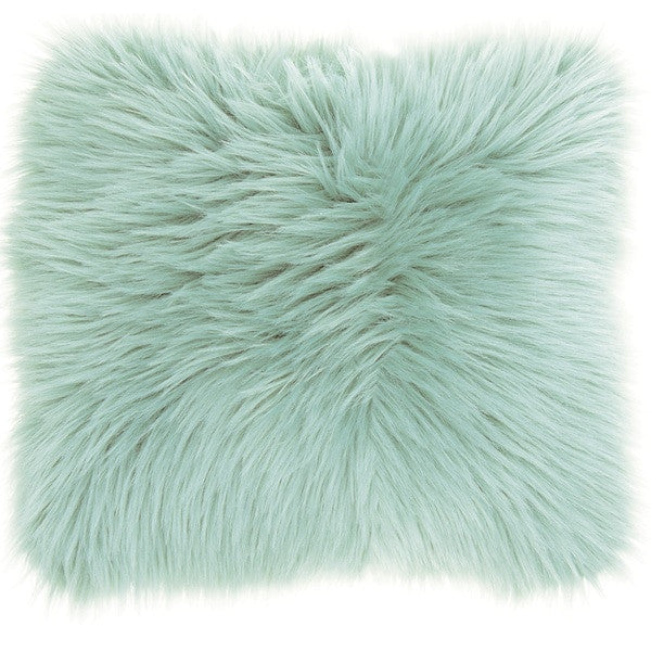 Throw Pillow Faux Fur - Seafoam