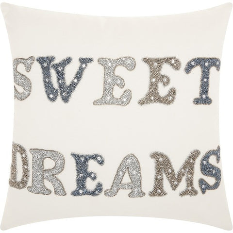 "Throw Pillow Sequin ""Sweet Dreams"" 18""x 18"""