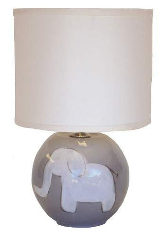 Character Sphere Lamp - White Elephant On Grey