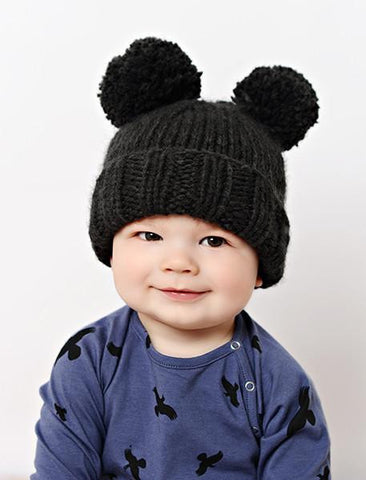 Pom Pom Knit Hat - Charcoal/Cream