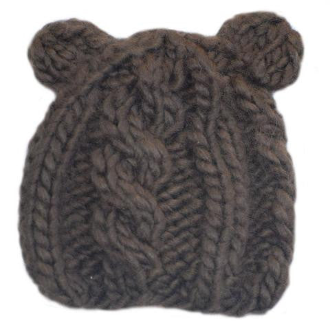 Bear Knit Hat - Brown