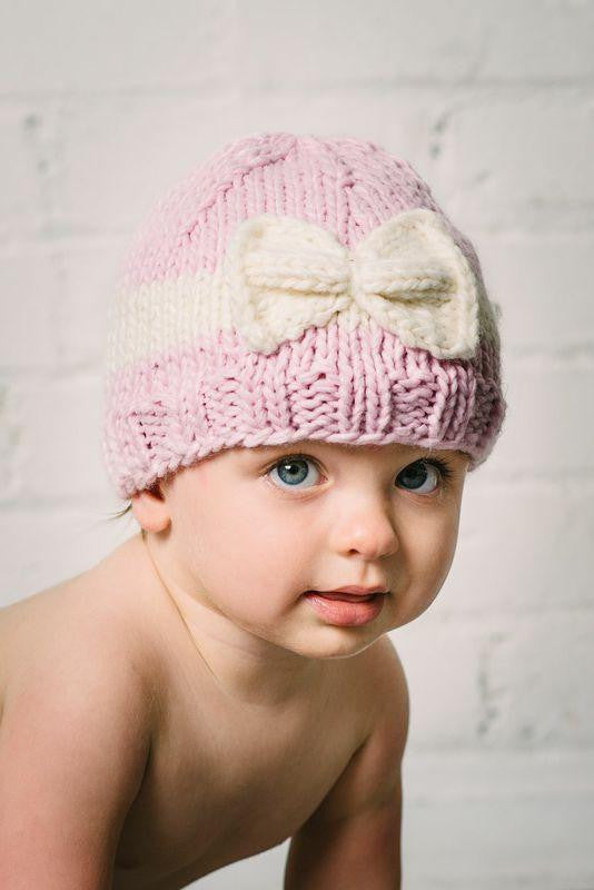 Sabrina Bow Knit Hat, Pink w/ Cream