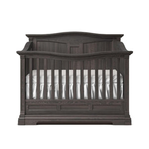 Imperio Convertible Crib, Solid Back Oil Grey