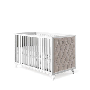 Classic Crib Tufted Solid White with Beige Velvet