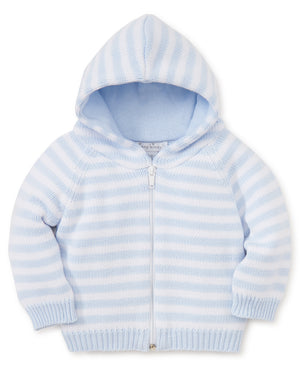 Rugby Stripe Hooded Cardigan, Blue/White