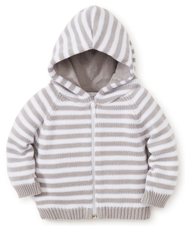 Rugby Stripe Hooded Cardigan, Grey/White
