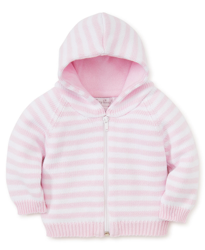 Rugby Stripe Hooded Cardigan, Pink/White