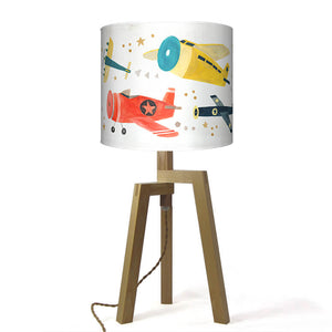 Airplanes Lamp W/ Wood Base
