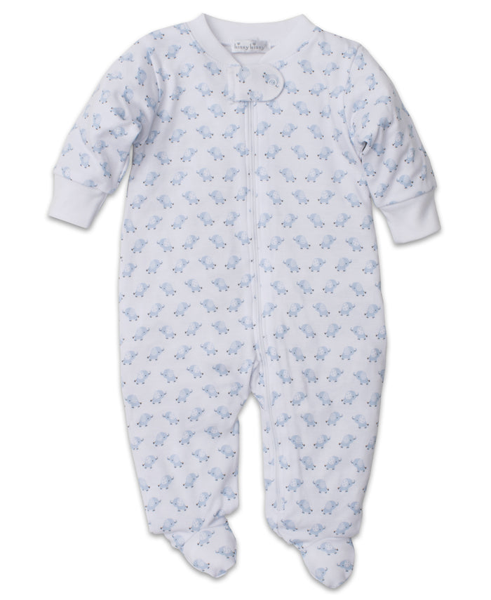 Baby Trunks Footie W/Zip, Blue