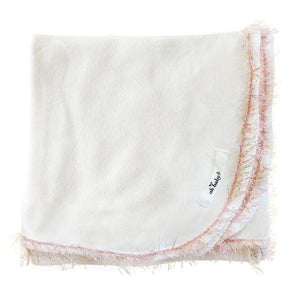 Blush Pink/Gold Trimmed Blanket, Cream