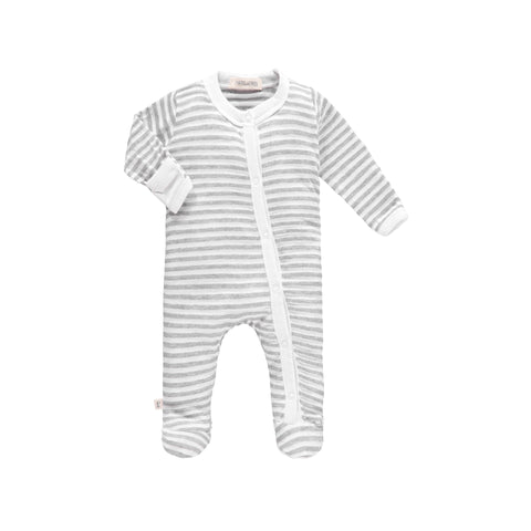 Grey And White Stripe Footie