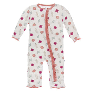 Ruffle Coverall With Zipper, Natural Gems