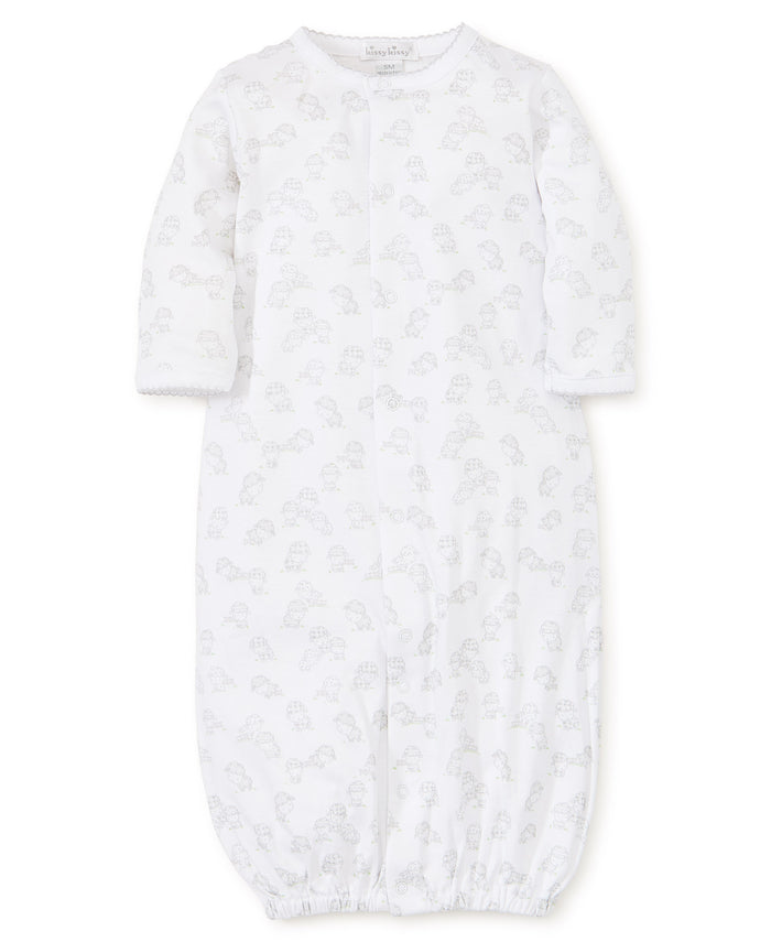 Baba Babies Print Conv. Gown, Silver