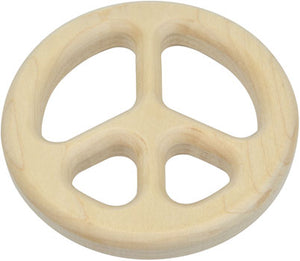 Maple Wood Peace Sign Teether