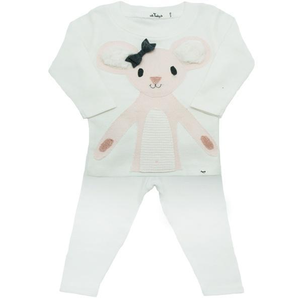Pink Daisy Mouse 2PC Set, Cream