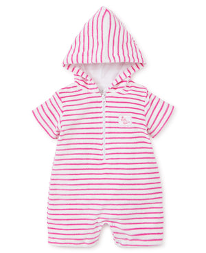 Whales Terry Romper, Pink