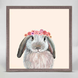 White Bunny With Flower Crown Mini Print 6x6