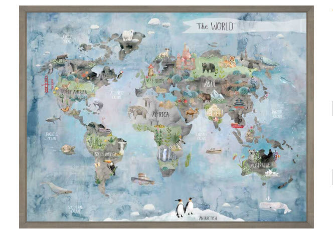 Wonderful World Map W/Rustic Wood Frame