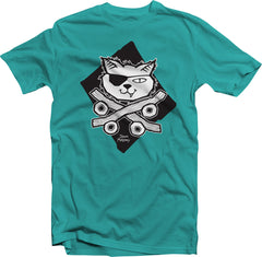 Skate Cat (Toddler & Kids)-Teal