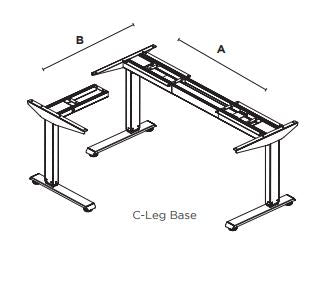 Friant Adjustable Height Base 3 stage Corner Base C-Leg