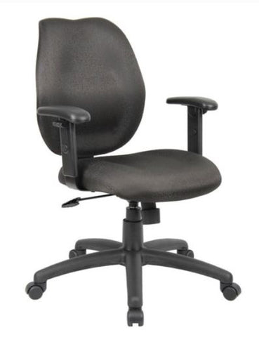 Boss Mid-Back Task Chair with Adjustable Arms, Black - Model: B1014-BK