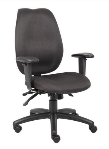 Boss High-Back Task Chair with Adjustable Arms, Black - Model: B1002-BK
