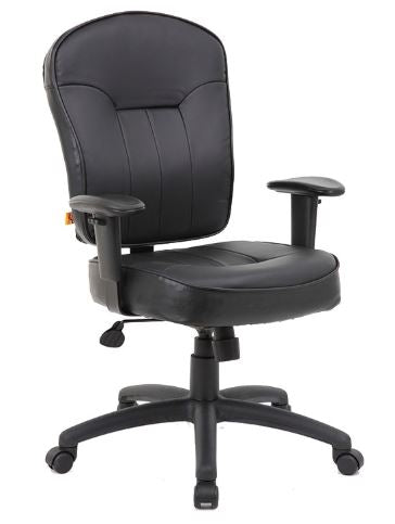 Boss Black Leather Task Chair W/ Adjustable Arm - Model: B1563