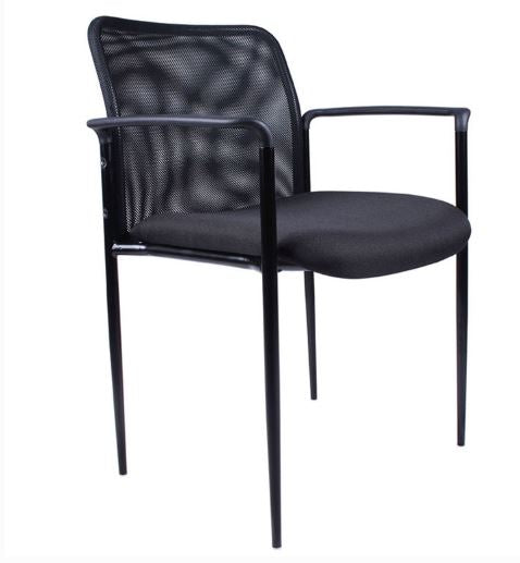 Boss Stackable Mesh Guest Chair, Black