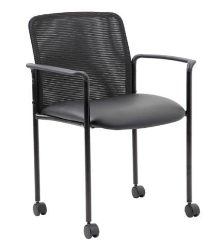 Boss Stackable Mesh Guest Chair with Casters, Black