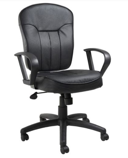 Boss Black Leather Task Chair W/ Loop Arms Model: B1562