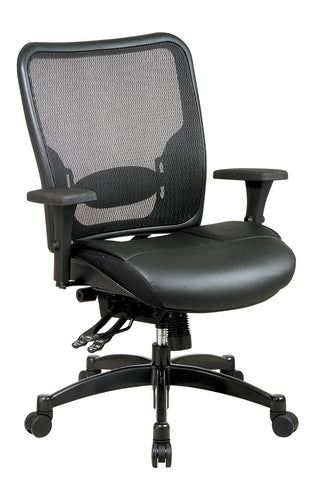 Professional Breathable Mesh Black Back and Layered Leather Seat Ergonomic Chair with Adjustable Lumbar Support