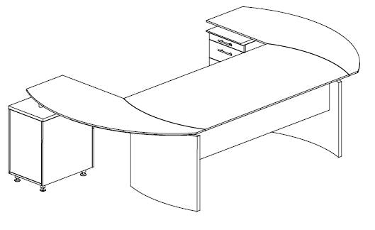 "Mayline Safco Medina Curved Desk w/ (2) Extension (63""W)"