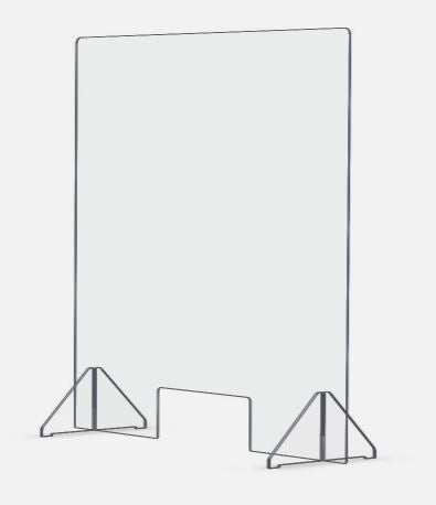 "Sneeze Guard - Economy 24"" x 24"" Protective Freestanding Shield with Transaction Window"